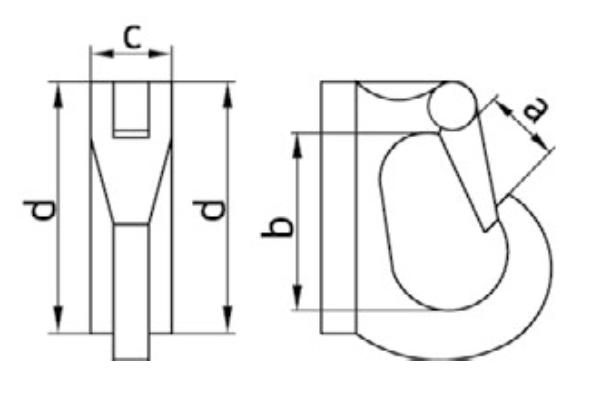 Размеры крюка с приварочной площадкой